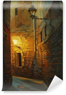 Vinylová Fototapeta Středověké ulice v gotické čtvrti Barcelony, malování, illust