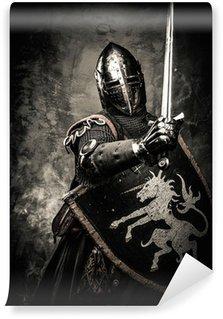 Vinylová Fototapeta Středověký rytíř proti kamenné zdi