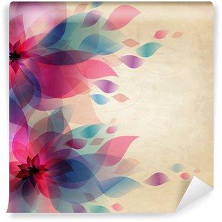 Fototapeta Winylowa Streszczenie kolorowe tło z kwiatami, karty rocznika wakacje