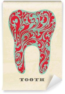 Fototapeta Winylowa Streszczenie kwiatów zęby. Retro plakat