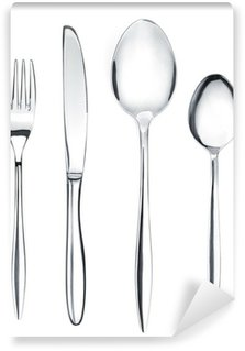 Vinylová Fototapeta Stříbro nebo příbory sada vidlička, lžíce a nože