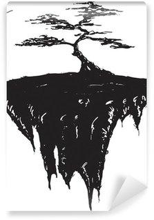 Vinylová Fototapeta Strom, který roste na plovoucím ostrově, černá a bílá