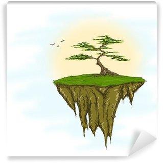 Vinylová Fototapeta Strom, který roste na plovoucím ostrově, nebe a velkou sluneční pozadí