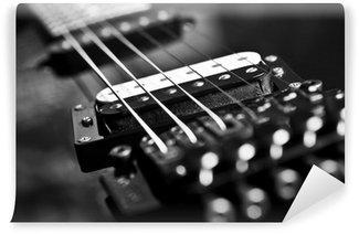 Vinylová Fototapeta Struny elektrická kytara detailní v černých tónů