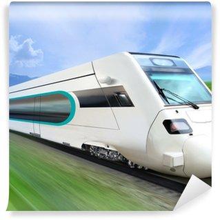 Vinylová Fototapeta Super aerodynamický vlak na železnici