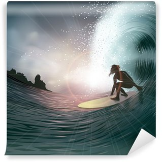Vinylová Fototapeta Surfař a vlny