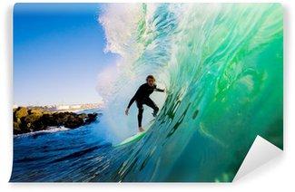 Vinylová Fototapeta Surfař na vlně při západu slunce