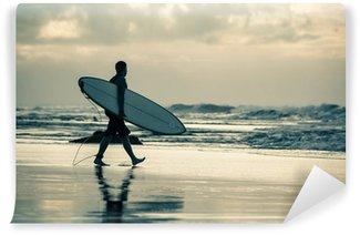 Vinylová Fototapeta Surfař silueta při západu slunce