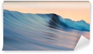 Fototapeta Winylowa Surfowanie tropikalny szablon. Zielony niebieski kolorowe fal oceanicznych