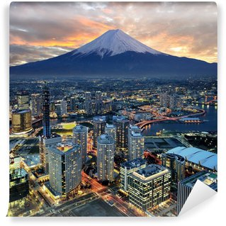 Vinylová Fototapeta Surreal pohled na Yokohama města a Mt. Fuji