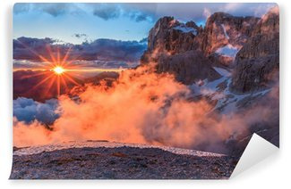 Vinylová Fototapeta Suset v Dolomity Alpy, Itálie