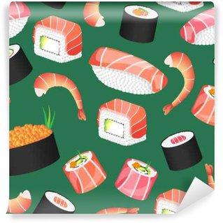 Fototapeta Vinylowa Sushi zielony wzór