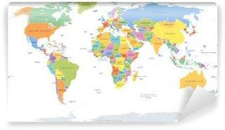 Vinylová Fototapeta Svět single uvádí politická mapa s národními hranicemi. Každá země prostor s vlastní barvou. Ilustrace na bílém pozadí pod Robinson projekci. Anglické označení.