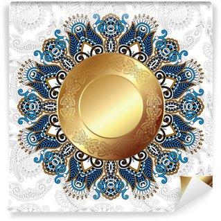 Vinylová Fototapeta Světlo květinové pozadí se zlatými kruhů a kruhu krajky