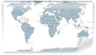 Vinylová Fototapeta Světová politická mapa. Podrobná mapa světa s břehy, národní hranice a názvy zemí. Robinson projekce, anglicky značení, šedá ilustrace na bílém pozadí.