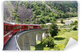 Vinylová Fototapeta Švýcarský horský vlak Bernina Express