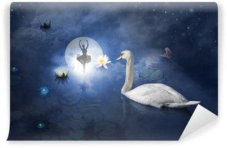 Vinylová Fototapeta Swan s balerína na měsíc