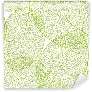 Fototapeta Winylowa Świeże zielone liście w tle - ilustracji wektorowych