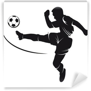 Fototapeta Vinylowa Sylwetka piłkarz pokonując na piłkę