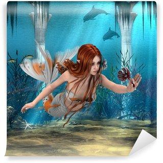 Fototapeta Winylowa Syrenka trzyma Sea Lily