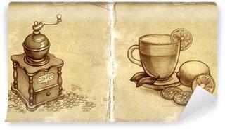 Fototapeta Winylowa Szklanka herbaty z cytryną i szkic w młynku do kawy