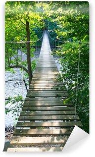 Fototapeta Winylowa Szwedzki wiszący most nad rzeką MÖRRUM