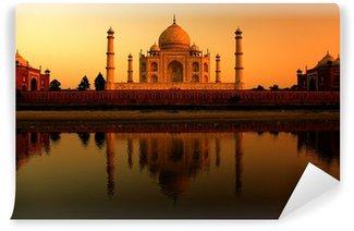 Vinylová Fototapeta Taj Mahal v Indii během krásný západ slunce