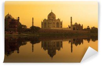 Vinylová Fototapeta Taj Mahal západ slunce reflexe, Yamuna řeky.