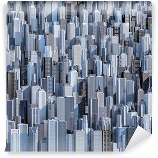 Vinylová Fototapeta Tall město pozadí / 3D vykreslování denní moderní městské čerpací obrázek