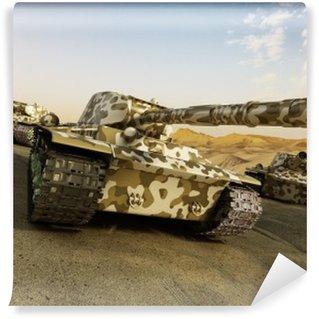 Vinylová Fototapeta Tank v maskování pohybující se v poušti