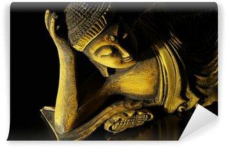 Vinylová Fototapeta Teak dřevo ležící Buddha na černém