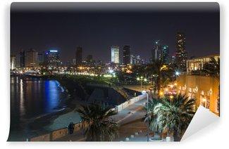Vinylová Fototapeta Tel Aviv v noci panoramatický výhled