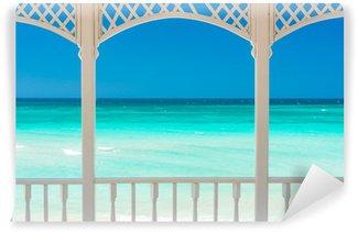 Vinylová Fototapeta Terasa s výhledem na tropické pláži na Kubě