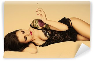 Vinylová Fototapeta Tetování pin up girl s cigaretou