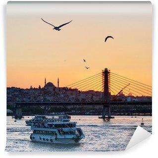 Vinylová Fototapeta The Golden Horn a panoráma města při západu slunce, Istanbul