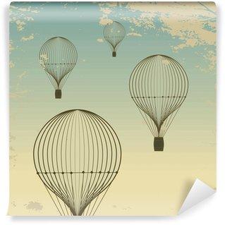 Fototapeta Winylowa Tło retro balonem niebo stare tekstury papieru. Rocznik wina