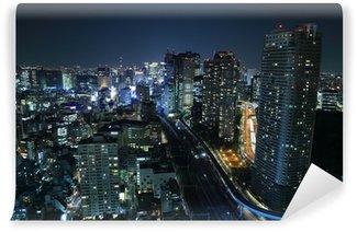 Vinylová Fototapeta Tokio panoráma města v noci