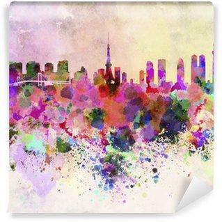 Vinylová Fototapeta Tokyo panorama v akvarelu pozadí