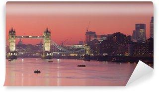 Vinylová Fototapeta Tower Bridge a město Londýn s tmavě červené slunce