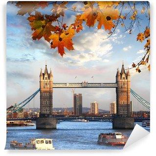 Vinylová Fototapeta Tower Bridge s podzimní listí v Londýně, Anglie