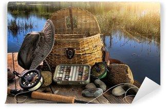Vinylová Fototapeta Tradiční fly-rybářský prut s vybavením v pozdním odpoledni