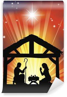 Vinylová Fototapeta Tradiční křesťanské vánoční betlém