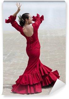 Vinylová Fototapeta Tradiční Žena španělské flamenco tanečnice v červených šatech