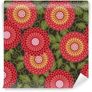 Fototapeta Vinylowa Tradycyjne kwiaty bez szwu wzór