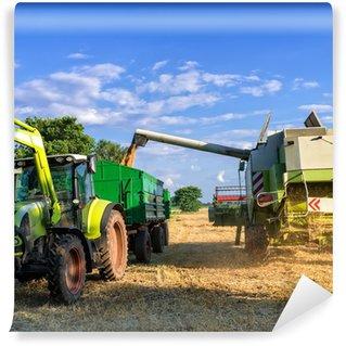 Vinylová Fototapeta Traktory a sklizeň