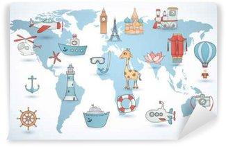 Vinylová Fototapeta Travel set. kolekce ikony na mapě světa.