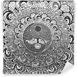 Vinylová Fototapeta Tree of Life Mandala Silver