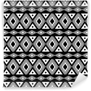 Fototapeta Winylowa Trendy bez szwu czarno-biały wzór. Nowoczesny styl boho, etnicznej, geometryczny. Modny wzór na ubrania, owijaniem tle. Wektor.