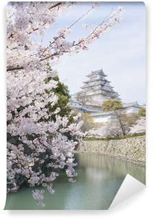 Vinylová Fototapeta Třešňové květy a hrad na jaře, Japonsko