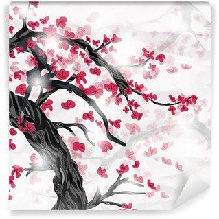 Vinylová Fototapeta Třešňový květ na jaře ispired japonskou malbou